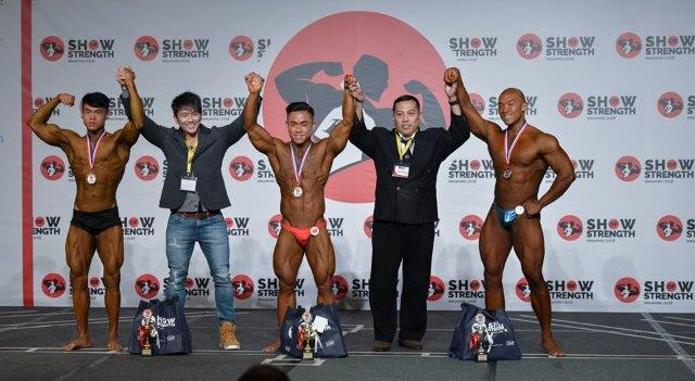 Winners of Men's Bodybuilding Juniors (Up to 23 Years Old) at the Show of Strength 2018