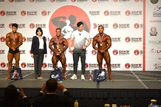 Winners of Men's Bodybuilding (Up to 75kg) at the Show of Strength 2018