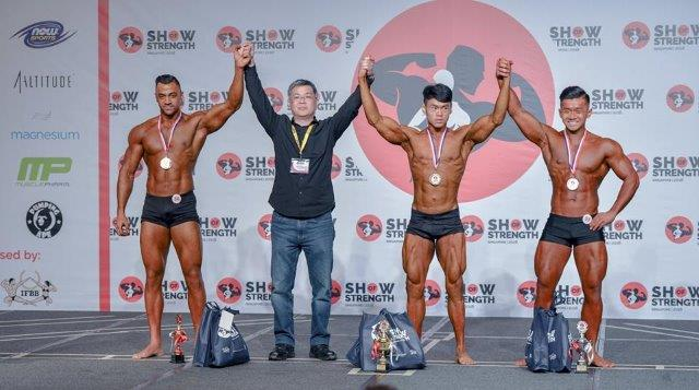 Winners of Men's Classic Physique Juniors (Up to 23 Years Old) at the Show of Strength 2018